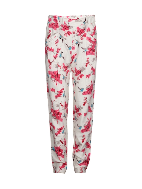 Gini and Jony Girls Off-White Floral Print Trousers