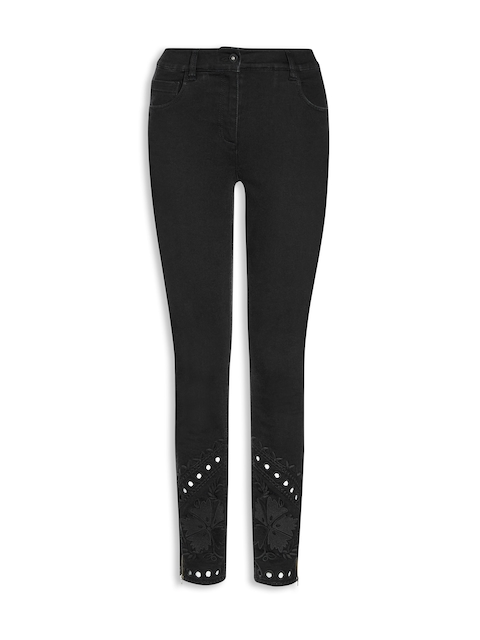 next Women Black Skinny Fit Mid-Rise Clean Look Jeans