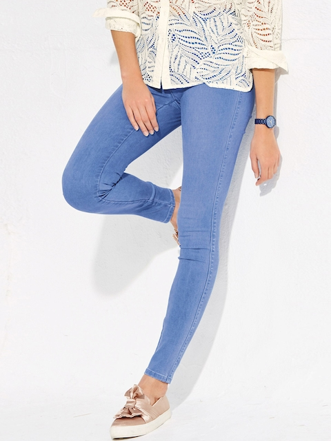 next Women Blue Skinny Fit Mid-Rise Clean Look Maternity Jeans