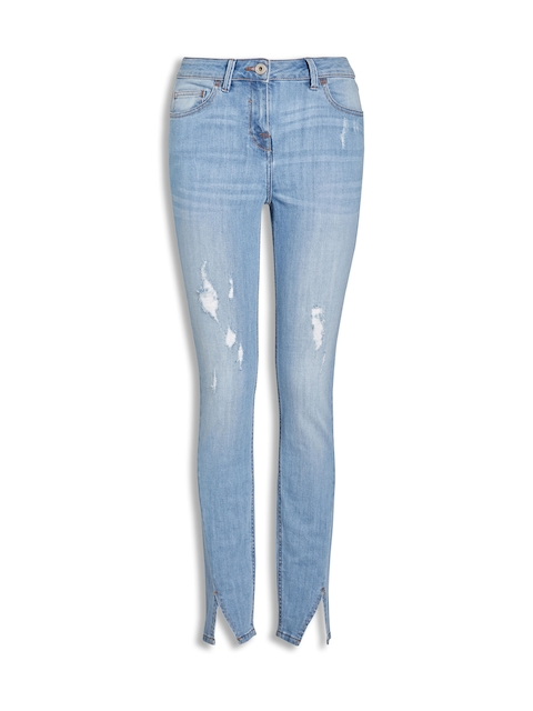 next Women Blue Regular Fit Mildly Distressed Stretchable Jeans
