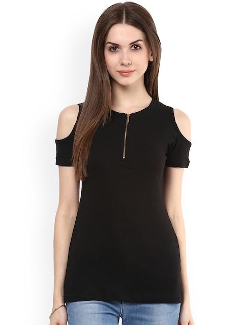 plusS Women Black Solid Cold-Shoulder Top