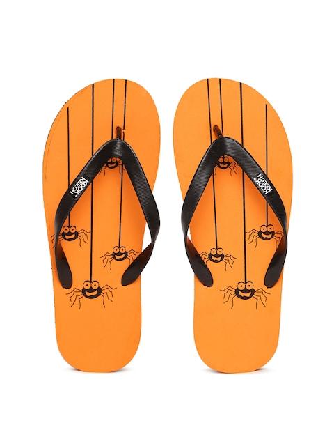 Kook N Keech Men Black & Orange Printed Flip-Flops