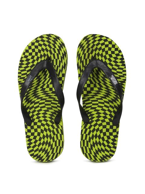 Kook N Keech Men Black & Green Flip-Flops
