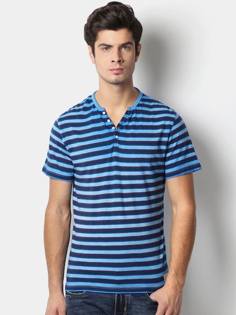 Peter England Men Blue Striped Slim Fit T-shirt