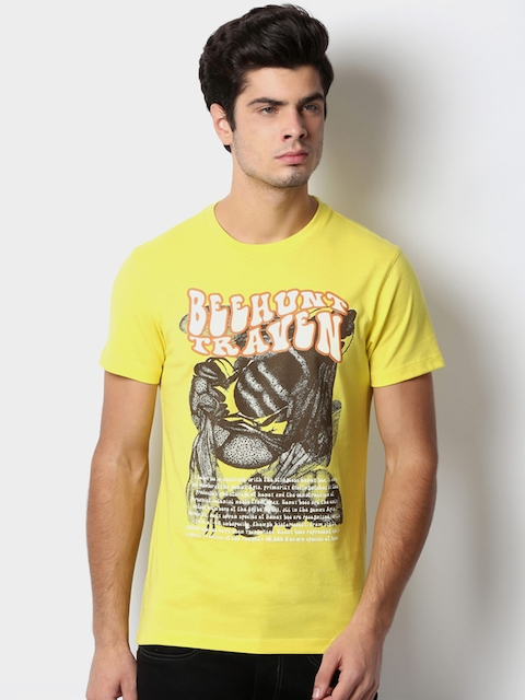 Peter England Men Yellow Printed Slim Fit T-shirt