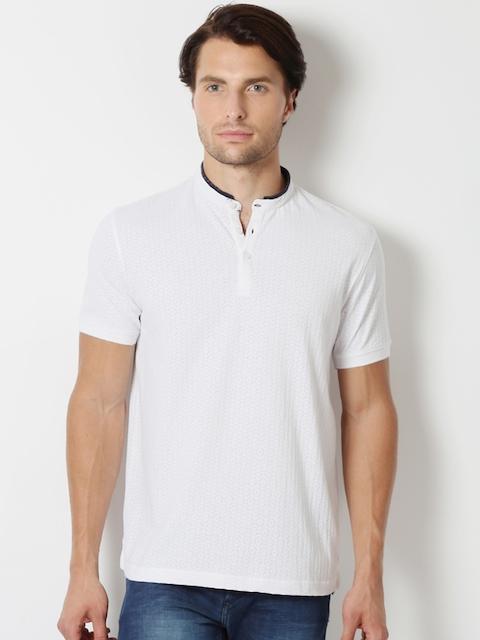 Peter England Men White Self-Design Mandarin Collar T-shirt