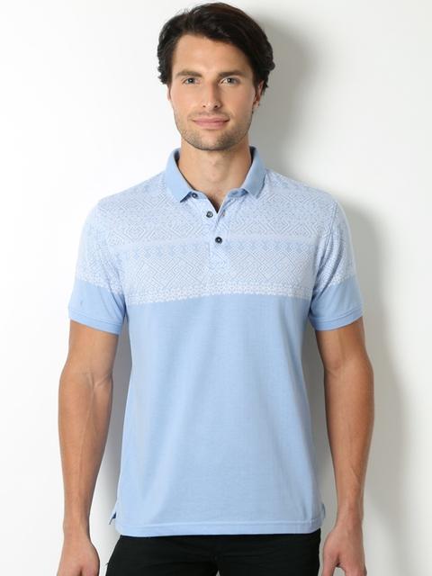 Peter England Men Blue Self-Design Polo Collar T-shirt