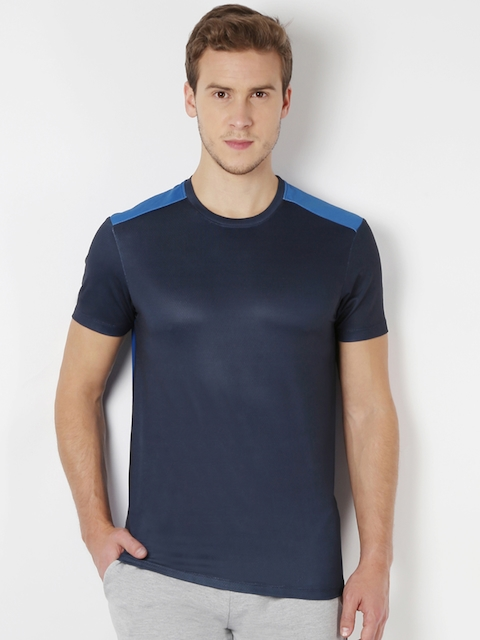 Peter England Men Blue Slim Fit Round Neck T-shirt