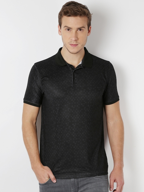 Peter England Men Black Slim Fit Polo T-shirt