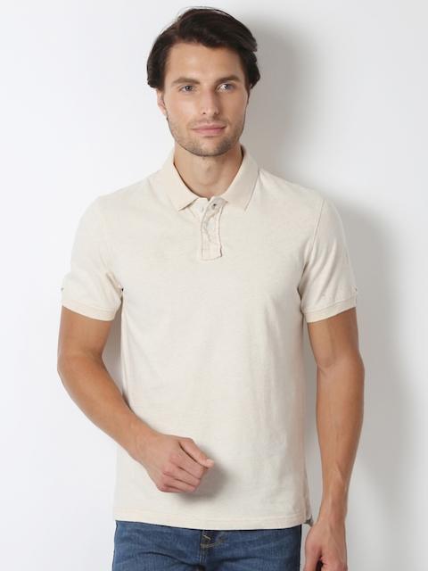 Peter England Men Beige Solid Polo Collar T-shirt