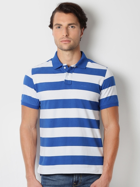 Peter England Men White & Blue Striped Slim Fit Polo Collar T-shirt