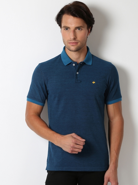 Peter England Men Blue Solid Polo Collar Slim Fit T-shirt