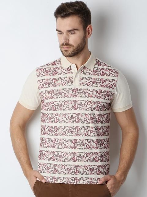 Peter England Men Beige Printed Polo Collar T-shirt