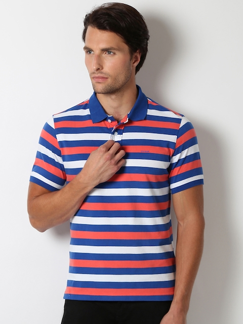 Peter England Men Blue & Coral Pink Striped Polo Collar T-shirt
