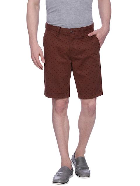 Basics Men Brown Printed Chino Shorts