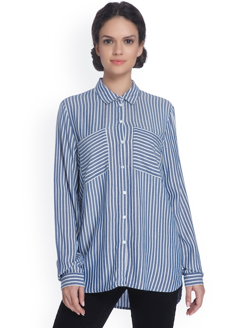 ONLY Women White & Blue Regular Fit Striped Longline Shirt