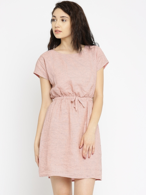 Vero Moda Women Pink & Black Striped Fit & Flare Dress
