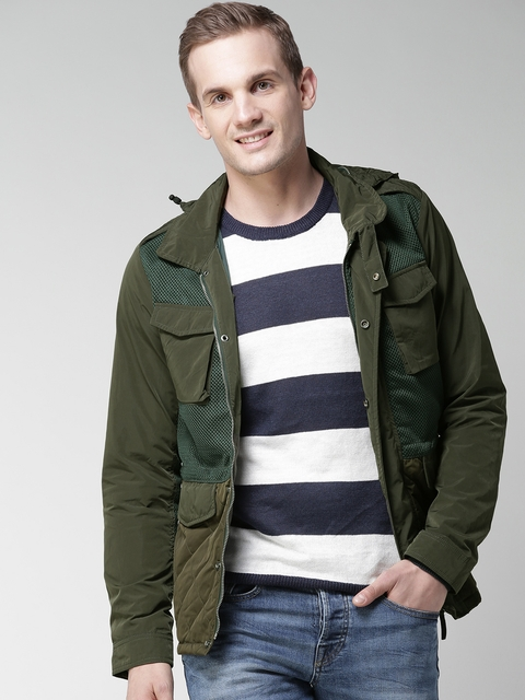 Scotch & Soda Men Olive Green Solid Tailored Jacket