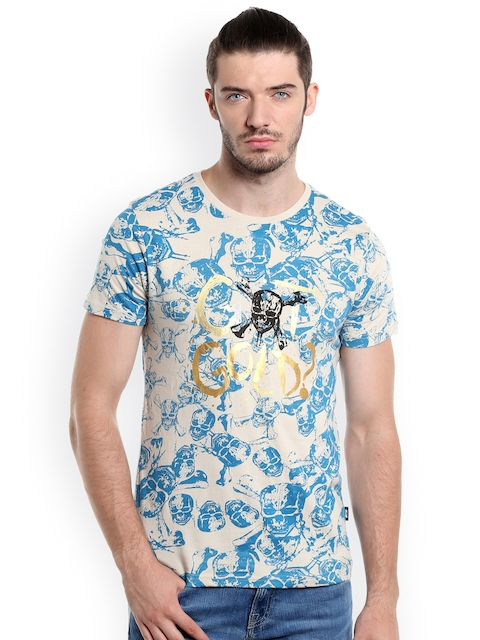 Jack & Jones Men Beige Printed Pirates Of Caribbean Round Neck T-Shirt