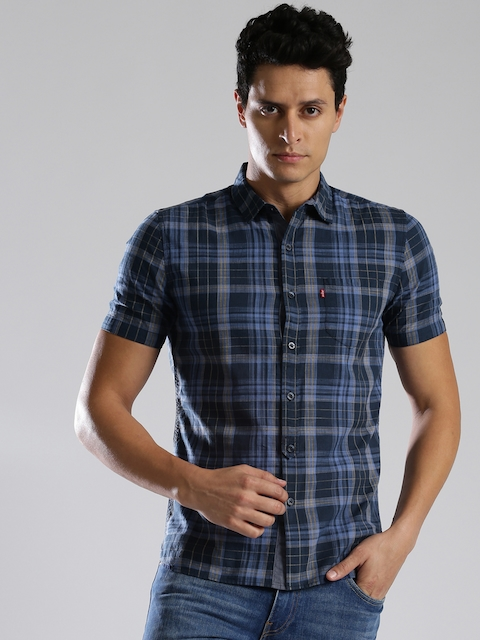 Levis Men Blue Slim Fit Checked Casual Shirt