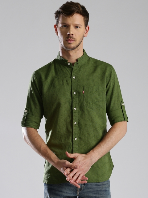 Levis Men Green Slim Fit Printed Casual Shirt