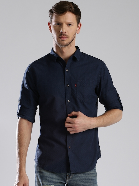 Levis Men Navy Blue Slim Fit Self Design Casual Shirt