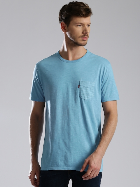 Levis Men Blue Solid Round Neck T-shirt  available at myntra for Rs.599
