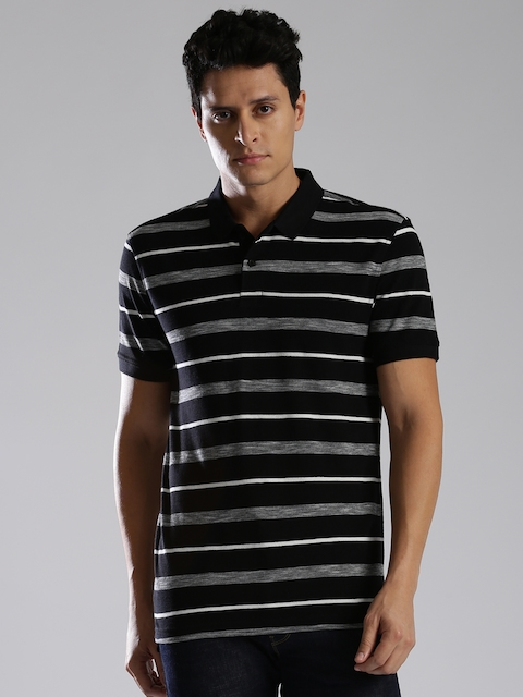 Levis Men Black & Grey Striped Polo Collar T-shirt