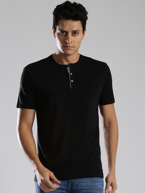 Levis Men Black Solid Henley Neck T-shirt  available at myntra for Rs.699