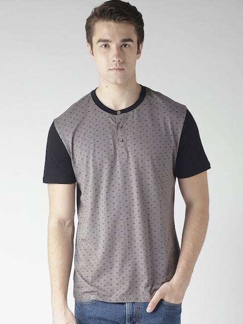 Levis Men Charcoal Grey Printed Henley Neck T-shirt