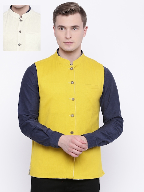 indus route by Pantaloons Beige & Yellow Reversible Nehru Jacket