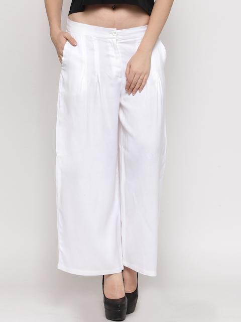 Sera Women White Wide Leg Solid Palazzos