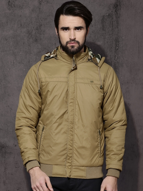 Roadster Men Beige Solid Bomber