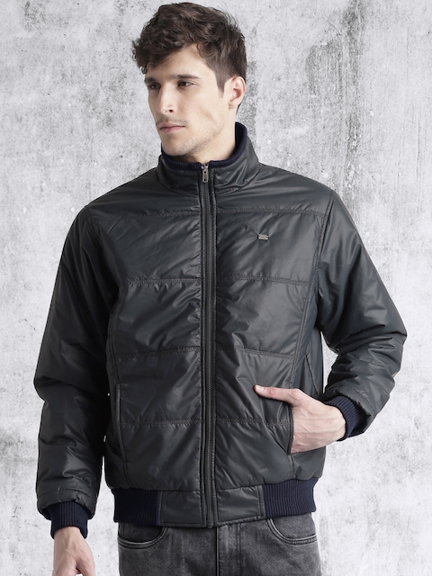 Roadster Men Navy Blue Solid Bomber
