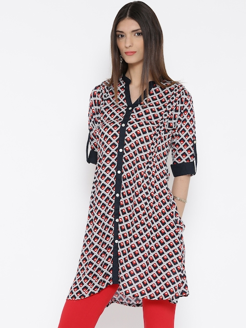 Shree Women Navy & White Printed A-Line Kurta  available at myntra for Rs.359