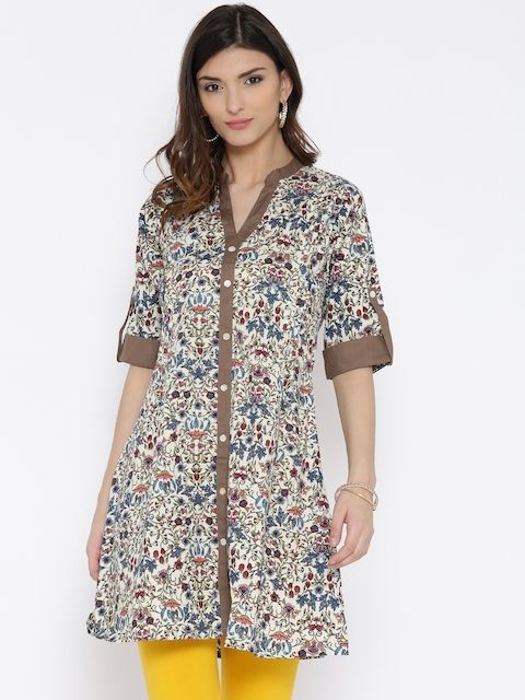 Shree Women White & Olive Green Printed A-Line Kurta  available at myntra for Rs.359