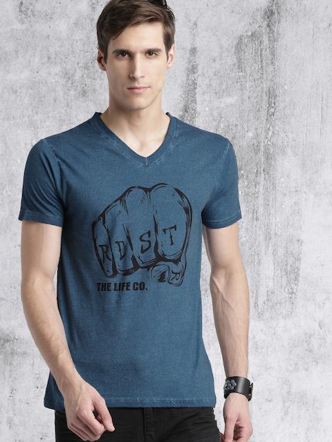 RDSTR Men Blue Printed V-Neck T-shirt