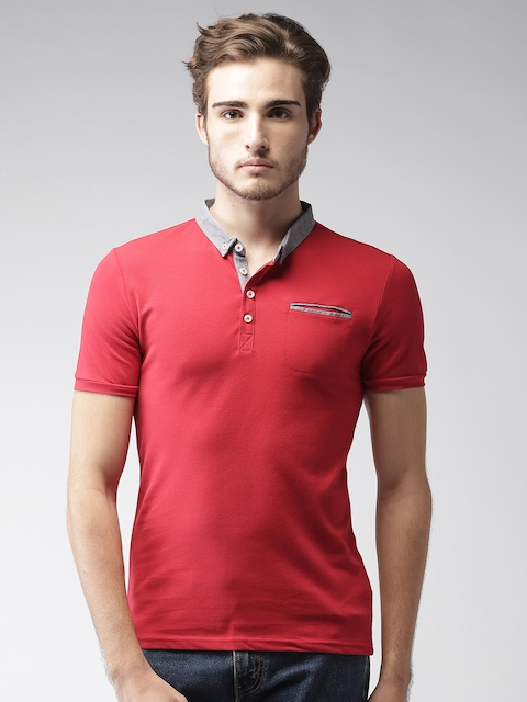 Celio Men Red Solid Polo T-shirt  available at myntra for Rs.934