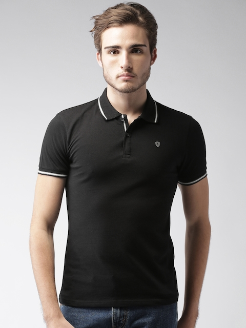 Celio Men Black Solid Polo T-shirt  available at myntra for Rs.989