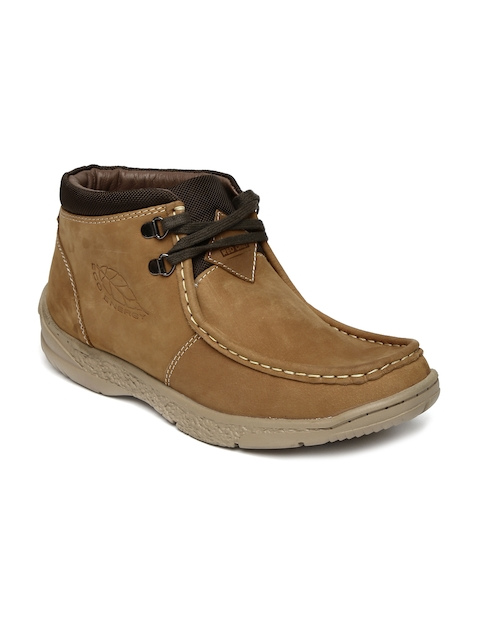 Red Chief Men Brown Square-Toed Mid-Top Leather Boots
