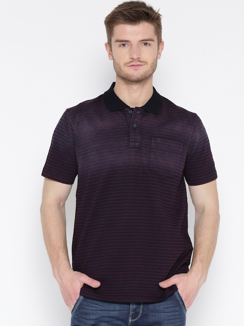 Monte Carlo Men Burgundy Striped Polo Collar T-shirt
