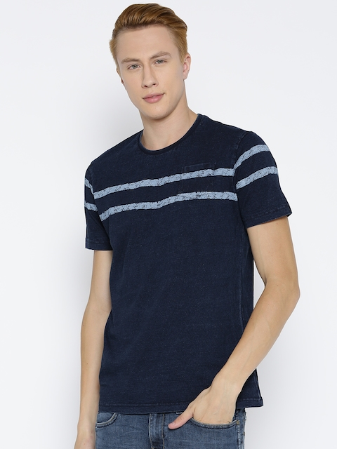 Monte Carlo Men Navy Blue Striped Detail Round Neck T-shirt