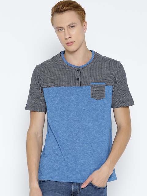Monte Carlo Men Blue Colourblocked Henley Neck T-shirt