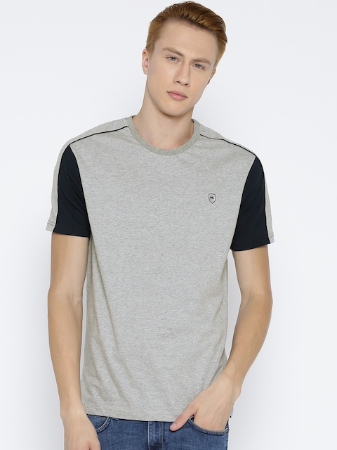 Monte Carlo Men Grey Melange Solid Round Neck T-shirt
