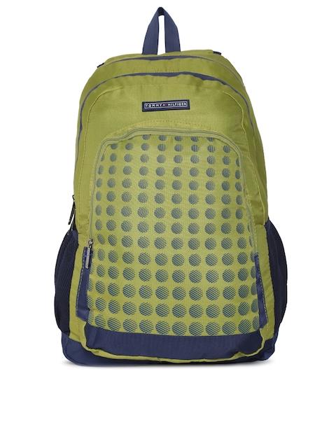 Tommy Hilfiger Unisex Olive Green Graphic Print Laptop Backpack