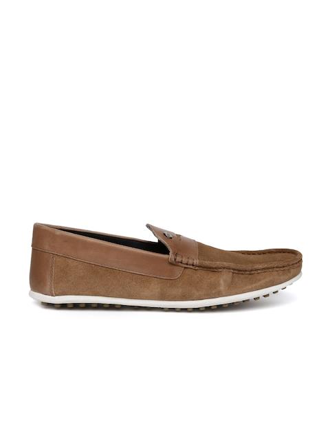 Carlton London Men Tan Brown Suede Loafers