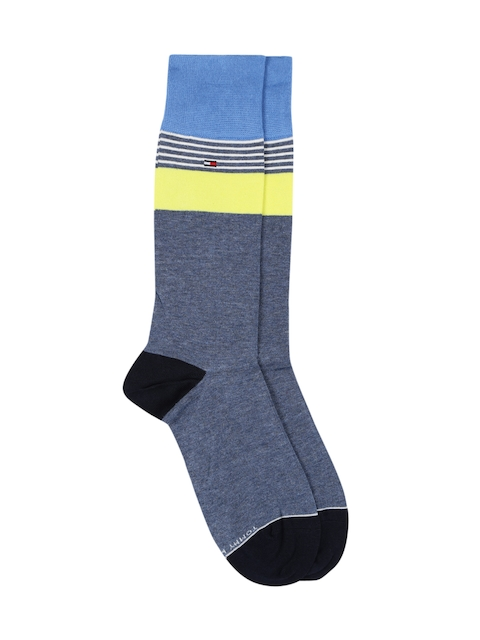Tommy Hilfiger Men Blue & Fluorescent Green Striped Above Ankle-Length Socks