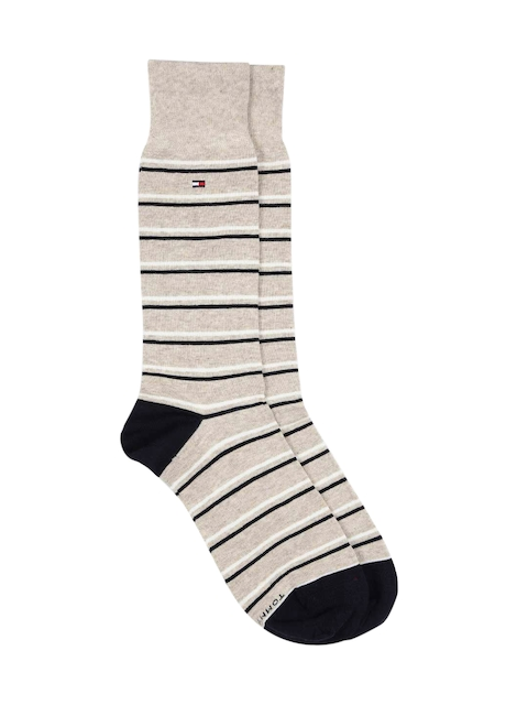 Tommy Hilfiger Men Beige & Navy Striped Above Ankle-Length Socks