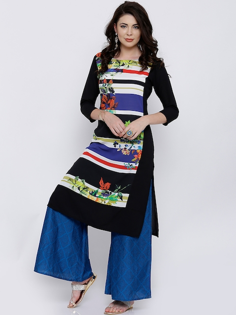 Vishudh Women Black Printed Straight Kurta  available at myntra for Rs.399
