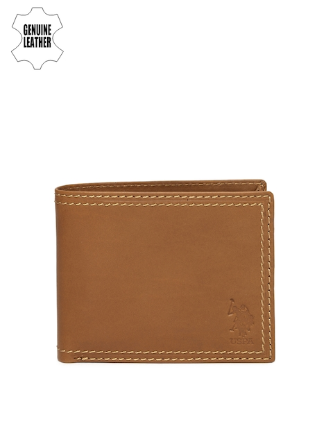 U.S. Polo Assn. Men Tan Brown Solid Two Fold Wallet